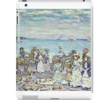 Maurice Brazil Prendergast - Opal Sea. Beach landscape: sea view, yachts, holiday, sailing boat, coast seaside with people, waves and beach, marine, sun and clouds, nautical panorama, coastal travel iPad Case/Skin