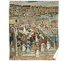 Maurice Brazil Prendergast - Ponte Della Paglia. Street landscape: city view, streets, building, houses, prospects, cityscape, architecture, roads, travel landmarks, panorama garden, buildings Poster