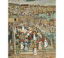 Maurice Brazil Prendergast - Ponte Della Paglia. Street landscape: city view, streets, building, houses, prospects, cityscape, architecture, roads, travel landmarks, panorama garden, buildings Photographic Print