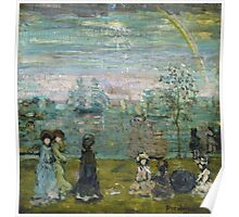 Maurice Brazil Prendergast - Promenade With Parasols. Beach landscape: sea view, yachts, holiday, Promenade , coast seaside, waves and beach, marine, sun clouds, nautical panorama, coastal travel Poster