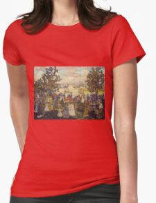 Maurice Brazil Prendergast - Salem Willows. Beach landscape: sea view, yachts, holiday, sailing boat, coast seaside, waves and beach, marine seascape, sun and clouds, nautical panorama, coastal travel Womens Fitted T-Shirt