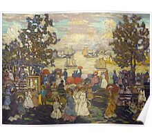 Maurice Brazil Prendergast - Salem Willows. Beach landscape: sea view, yachts, holiday, sailing boat, coast seaside, waves and beach, marine seascape, sun and clouds, nautical panorama, coastal travel Poster
