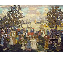 Maurice Brazil Prendergast - Salem Willows. Beach landscape: sea view, yachts, holiday, sailing boat, coast seaside, waves and beach, marine seascape, sun and clouds, nautical panorama, coastal travel Photographic Print