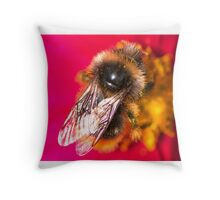 Bee on a pink flower Throw Pillow