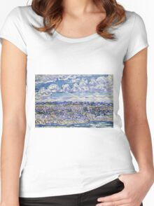 Maurice Brazil Prendergast - St. Malo. Urban landscape: city view, streets, building, house, trees, cityscape, architecture, construction, travel landmarks, panorama garden, buildings Women's Fitted Scoop T-Shirt