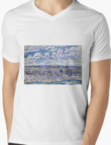 Maurice Brazil Prendergast - St. Malo. Urban landscape: city view, streets, building, house, trees, cityscape, architecture, construction, travel landmarks, panorama garden, buildings Mens V-Neck T-Shirt
