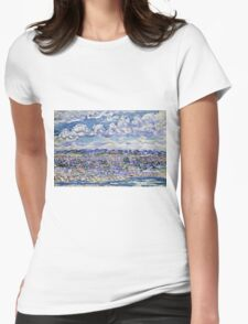Maurice Brazil Prendergast - St. Malo. Urban landscape: city view, streets, building, house, trees, cityscape, architecture, construction, travel landmarks, panorama garden, buildings Womens Fitted T-Shirt