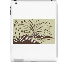 Volcano Eruption Island Woodcut iPad Case/Skin