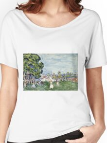 Maurice Brazil Prendergast - Summer Day, New England. Garden landscape: garden view, trees and flowers, blossom, nature, botanical park,  Day, wonderful flowers, Summer, cute plant, garden, England Women's Relaxed Fit T-Shirt