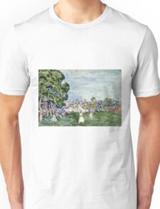 Maurice Brazil Prendergast - Summer Day, New England. Garden landscape: garden view, trees and flowers, blossom, nature, botanical park,  Day, wonderful flowers, Summer, cute plant, garden, England Unisex T-Shirt
