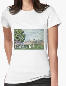 Maurice Brazil Prendergast - Summer Day, New England. Garden landscape: garden view, trees and flowers, blossom, nature, botanical park,  Day, wonderful flowers, Summer, cute plant, garden, England Womens Fitted T-Shirt