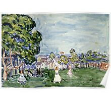 Maurice Brazil Prendergast - Summer Day, New England. Garden landscape: garden view, trees and flowers, blossom, nature, botanical park,  Day, wonderful flowers, Summer, cute plant, garden, England Poster