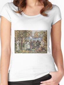 Maurice Brazil Prendergast - Waterside Park Scene. Garden landscape: trees and flowers, blossom, nature view, botanical park, floral flora, wonderful flowers, plants, cute plant, garden, flower Women's Fitted Scoop T-Shirt