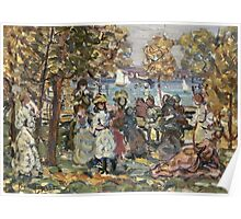 Maurice Brazil Prendergast - Waterside Park Scene. Garden landscape: trees and flowers, blossom, nature view, botanical park, floral flora, wonderful flowers, plants, cute plant, garden, flower Poster