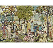 Maurice Brazil Prendergast - Holidays. Picnic painting: picnic time, man and woman, holiday, people, family, travel, garden, outdoor meal, eating food, nautical panorama, picnic Photographic Print
