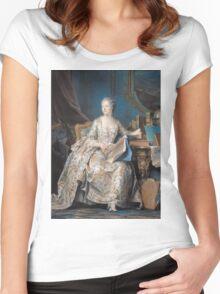 Maurice-Quentin De La Tour - Jeanne Poisson The Marquise De Pompadour. Woman portrait: sensual woman, book,  brocade, costume, courtier, beautiful dress,  lady, madame, love, marquise de pompadour Women's Fitted Scoop T-Shirt