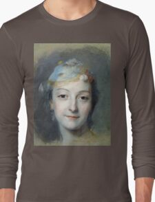 Maurice-Quentin De La Tour - Portrait Of Marie Fel. Woman portrait: sensual woman, girly art, female style, pretty women, femine, beautiful , cute,  lady, love, sexy lady, blossom Long Sleeve T-Shirt