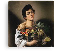 Michelangelo Merisi Da Caravaggio - Boy With Basket Of Fruit. Man portrait: Young man, curly head, male, secular,  young, masculine, boyfriend, smile, still life , sexy men,  fruits Canvas Print