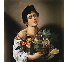 Michelangelo Merisi Da Caravaggio - Boy With Basket Of Fruit. Man portrait: Young man, curly head, male, secular,  young, masculine, boyfriend, smile, still life , sexy men,  fruits Photographic Print