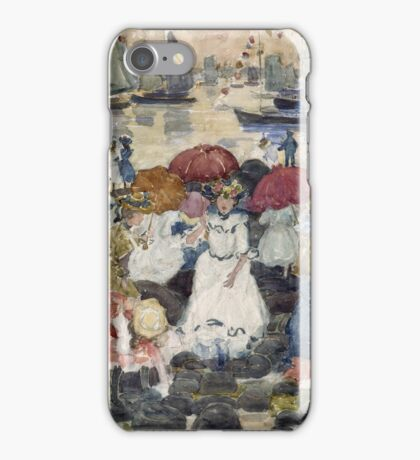 Maurice Brazil Prendergast - Beechmont. Beach landscape: sea view, yachts, holiday, sailing boat, waves and beach, marine naval navy, family seascape, sun and clouds, nautical panorama, coastal travel iPhone Case/Skin