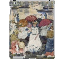 Maurice Brazil Prendergast - Beechmont. Beach landscape: sea view, yachts, holiday, sailing boat, waves and beach, marine naval navy, family seascape, sun and clouds, nautical panorama, coastal travel iPad Case/Skin
