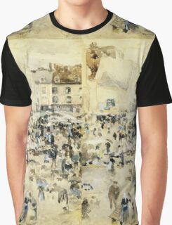 Maurice Brazil Prendergast - European Street Scene. Street landscape: city view, streets, building, houses, prospects, cityscape, architecture, roads, travel landmarks, panorama garden, buildings Graphic T-Shirt