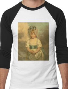 Miss Charlotte - Papendick As A Child. Child portrait: girl, curly head,  beautiful, pretty angel, child, kids, cap, dress,  bow, lovely family, childhood Men's Baseball ¾ T-Shirt