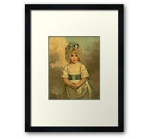 Miss Charlotte - Papendick As A Child. Child portrait: girl, curly head,  beautiful, pretty angel, child, kids, cap, dress,  bow, lovely family, childhood Framed Print