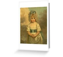 Miss Charlotte - Papendick As A Child. Child portrait: girl, curly head,  beautiful, pretty angel, child, kids, cap, dress,  bow, lovely family, childhood Greeting Card