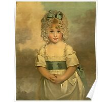 Miss Charlotte - Papendick As A Child. Child portrait: girl, curly head,  beautiful, pretty angel, child, kids, cap, dress,  bow, lovely family, childhood Poster