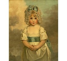 Miss Charlotte - Papendick As A Child. Child portrait: girl, curly head,  beautiful, pretty angel, child, kids, cap, dress,  bow, lovely family, childhood Photographic Print