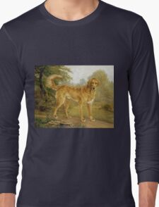 Niels Aagaard Lytzen - A Golden Retriever On A Path. Dog painting: Retriever, dogs, doggy, lucky, pets, wild life, animal, smile,  Golden, kids, nature Long Sleeve T-Shirt