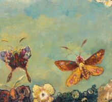 Odilon Redon - Butterflies 1910. Butterflies painting:  butterfly, fly,  butterfly, movement, flutter, fluttering, animal, colourful , little small, impression , nature Sticker