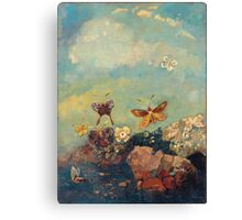 Odilon Redon - Butterflies 1910. Butterflies painting:  butterfly, fly,  butterfly, movement, flutter, fluttering, animal, colourful , little small, impression , nature Canvas Print