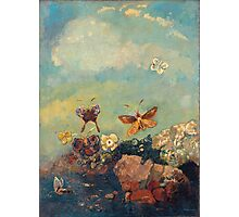 Odilon Redon - Butterflies 1910. Butterflies painting:  butterfly, fly,  butterfly, movement, flutter, fluttering, animal, colourful , little small, impression , nature Photographic Print