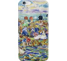 Maurice Brazil Prendergast - Idlers On The Beach. Beach landscape: sea view, yachts, holiday, sailing boat, waves and beach, marine, family seascape, sun and clouds, nautical panorama, coastal travel iPhone Case/Skin