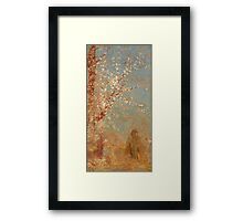 Odilon Redon - Figure Under A Blossoming Tree 1904. Garden landscape: garden view, trees and flowers, blossom, woman, dream, floral flora, wonderful flowers, think, meditation, relaxation, rest Framed Print
