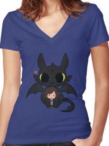 My cute Chibbi Dragon  Women's Fitted V-Neck T-Shirt