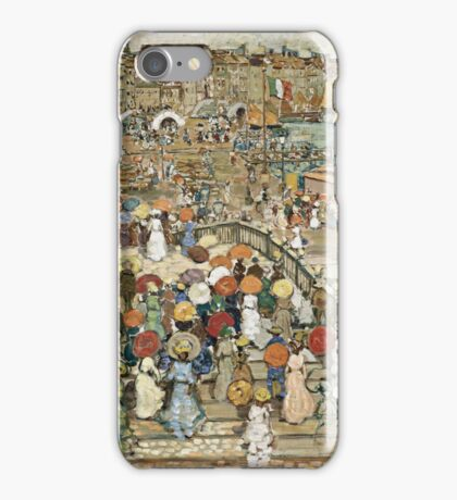 Maurice Brazil Prendergast - Ponte Della Paglia. Street landscape: city view, streets, building, houses, prospects, cityscape, architecture, roads, travel landmarks, panorama garden, buildings iPhone Case/Skin