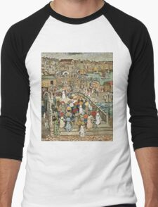 Maurice Brazil Prendergast - Ponte Della Paglia. Street landscape: city view, streets, building, houses, prospects, cityscape, architecture, roads, travel landmarks, panorama garden, buildings Men's Baseball ¾ T-Shirt