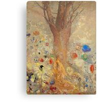 Odilon Redon - The Buddha 1904. Garden landscape: garden, trees and flowers, blossom, nature, Buddha , buddhism, meditating, think, meditation, relaxation, rest Canvas Print