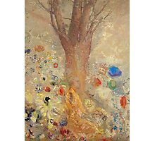 Odilon Redon - The Buddha 1904. Garden landscape: garden, trees and flowers, blossom, nature, Buddha , buddhism, meditating, think, meditation, relaxation, rest Photographic Print