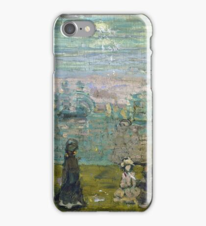Maurice Brazil Prendergast - Promenade With Parasols. Beach landscape: sea view, yachts, holiday, Promenade , coast seaside, waves and beach, marine, sun clouds, nautical panorama, coastal travel iPhone Case/Skin