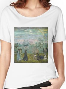 Maurice Brazil Prendergast - Promenade With Parasols. Beach landscape: sea view, yachts, holiday, Promenade , coast seaside, waves and beach, marine, sun clouds, nautical panorama, coastal travel Women's Relaxed Fit T-Shirt