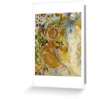 Odilon Redon - Two Young Girls Among Flowers 1912. Garden landscape: garden view, trees and flowers, blossom, Girls,  Young,  Among Flowers, wonderful flowers, dream, think, garden, flower Greeting Card
