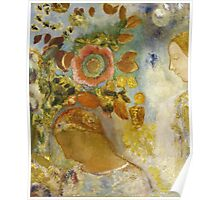 Odilon Redon - Two Young Girls Among Flowers 1912. Garden landscape: garden view, trees and flowers, blossom, Girls,  Young,  Among Flowers, wonderful flowers, dream, think, garden, flower Poster
