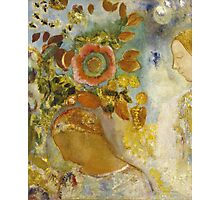 Odilon Redon - Two Young Girls Among Flowers 1912. Garden landscape: garden view, trees and flowers, blossom, Girls,  Young,  Among Flowers, wonderful flowers, dream, think, garden, flower Photographic Print