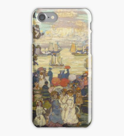 Maurice Brazil Prendergast - Salem Willows. Beach landscape: sea view, yachts, holiday, sailing boat, coast seaside, waves and beach, marine seascape, sun and clouds, nautical panorama, coastal travel iPhone Case/Skin