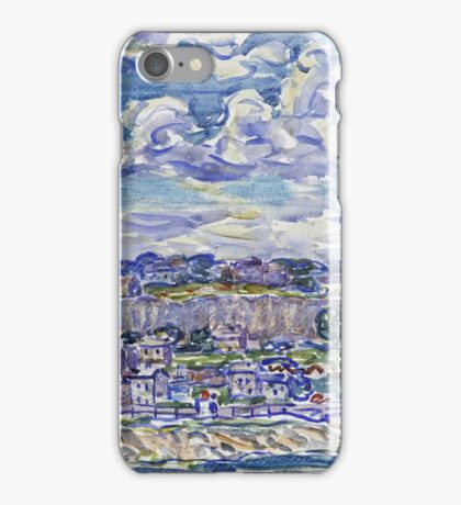 Maurice Brazil Prendergast - St. Malo. Urban landscape: city view, streets, building, house, trees, cityscape, architecture, construction, travel landmarks, panorama garden, buildings iPhone Case/Skin