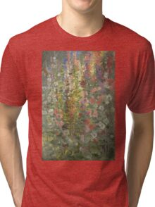 Otto Stark - Hollyhocks. Still life with flowers: still life with flowers, flowers, blossom, nature, botanical, floral flora, wonderful flower, plants, cute plant for kitchen interior, garden, vase Tri-blend T-Shirt